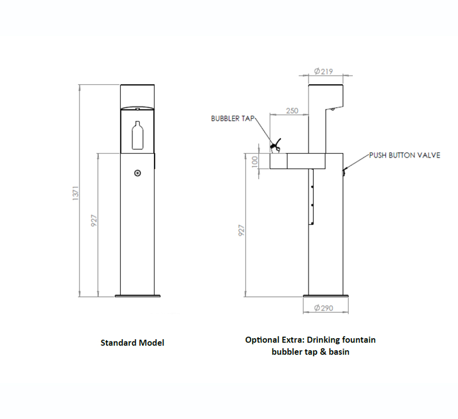 Drawing and dimensions of Kents water refill station