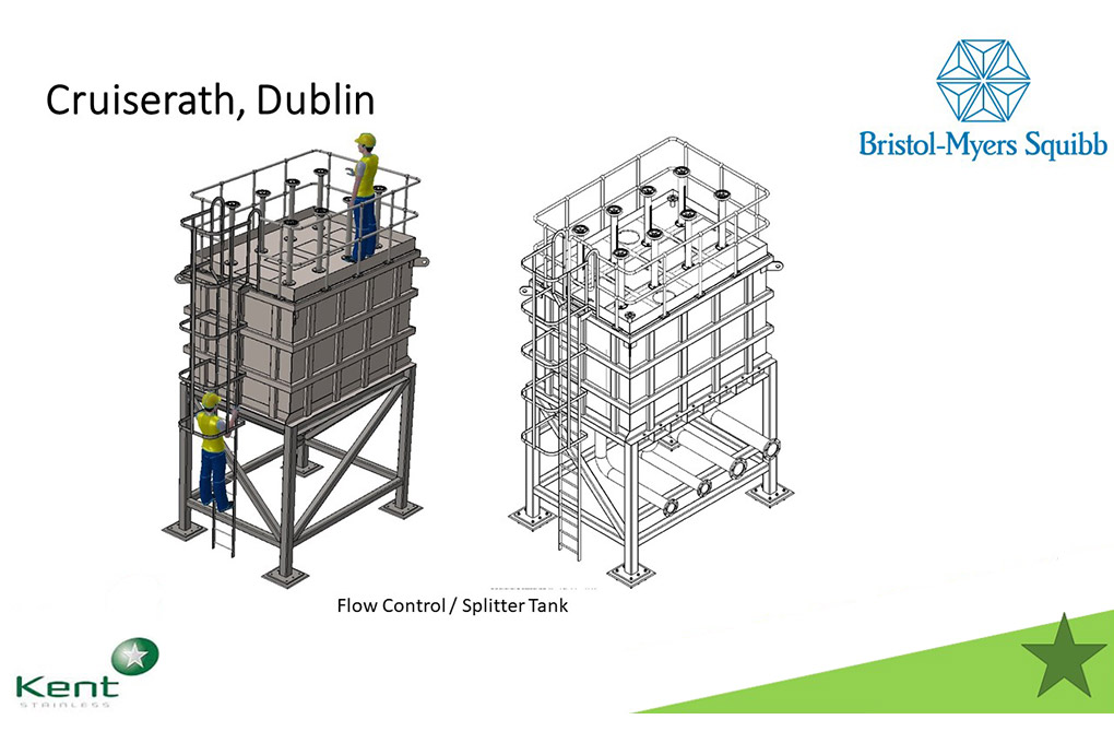A drawing of Kent's flow control tank for pharmaceutical project