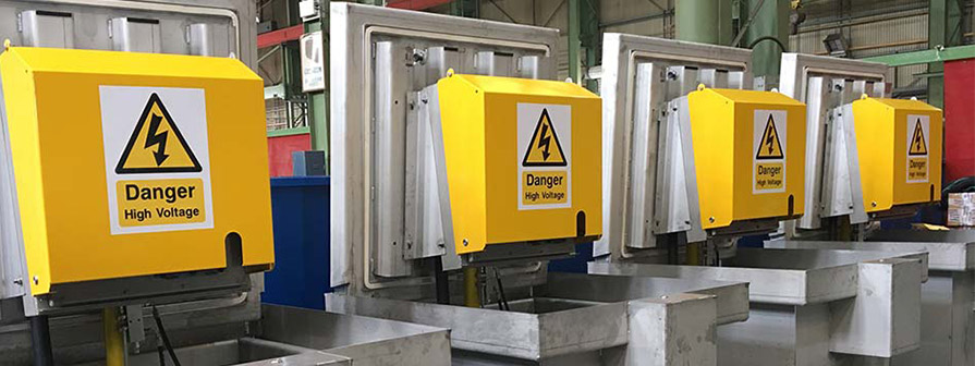 Kent's Inground power units in a factory setting