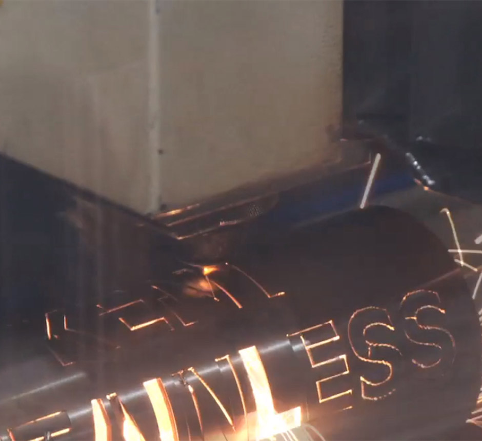 Closeup view of Kent's laser cutting process
